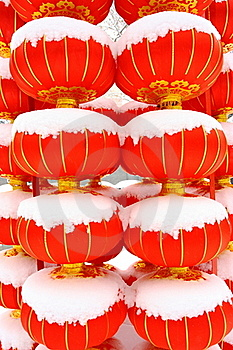 Chinese Red Lantern On Snow Stock Images - Image: 18325374