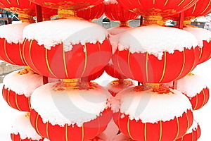 Chinese Red Lantern On Snow Royalty Free Stock Photos - Image: 18325378