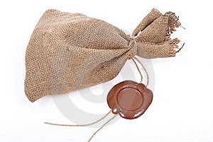Sack With Sealing Wax Royalty Free Stock Photos - Image: 18325498