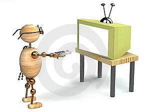 3d Wood Man Is Watching Tv Stock Image - Image: 18325851