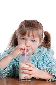 The Little Girl With A Milk Glass Stock Photography - Image: 18326082