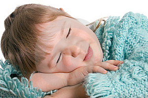 Little Girl Sleeps On A Table Royalty Free Stock Photography - Image: 18326107