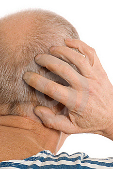 The Elderly Man Scratches A Nape Royalty Free Stock Image - Image: 18326136