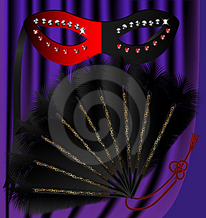 Black Fan And Half Mask Stock Images - Image: 18329134