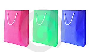 Three Colorful Of Paper Bag Isolated Royalty Free Stock Photo - Image: 18331995