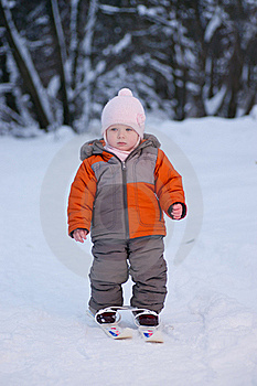 Adorable Baby Walk On Ski In Park Royalty Free Stock Photography - Image: 18333747