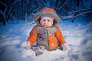 Adorable Baby Sit In Deep Snow Stock Photo - Image: 18334110