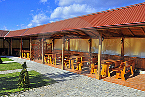 Wooden Restaurant Terrace Royalty Free Stock Image - Image: 18335286