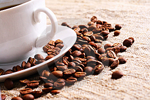Coffee Cup And Grain On A Fabric. Still-life Stock Images - Image: 18336204