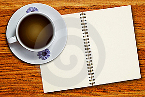 White Cup Of Coffee And Notebook Royalty Free Stock Photography - Image: 18337247