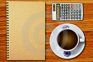 White Cup Of Coffee And Notebook Royalty Free Stock Images - Image: 18337339