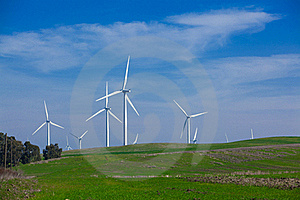 Wind Farm With Blue Sky Royalty Free Stock Image - Image: 18339226