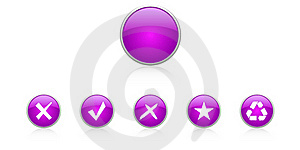Set Violet Buttons Royalty Free Stock Photo - Image: 18341125