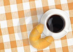 Top View Coffee Cup And Croissant On Tablecloth Royalty Free Stock Photo - Image: 18349075