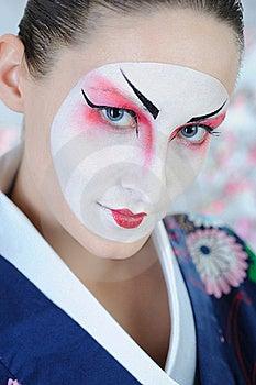Japan Geisha Woman With Creative Make-up Royalty Free Stock Image - Image: 18351046