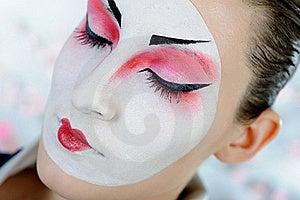 Japan Geisha Woman With Creative Make-up Royalty Free Stock Photo - Image: 18351065