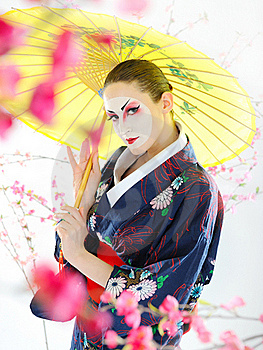 Japan Geisha Woman With Creative Make-up Stock Image - Image: 18351161