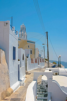 Colorful Old Street In Santorini Royalty Free Stock Photography - Image: 18352187