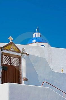 Beautiful Blue Church In Santorini Stock Images - Image: 18352204