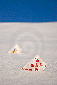 Cards On Snow Royalty Free Stock Photography - Image: 18352247
