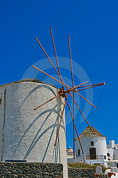 Famous Windmill In Oia, Santorini Royalty Free Stock Images - Image: 18352259