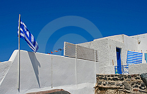 White Old Street In Santorini With Greece Flag Stock Photography - Image: 18352272