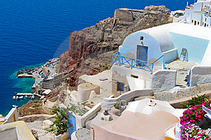 Colorful Architecture In Santorini With Aegean Sea Stock Images - Image: 18352304