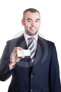 Business Man Holding A Blank Business Card Stock Photo - Image: 18352450