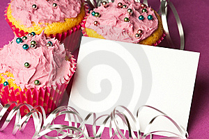 Cupcakes With A Blank Invitation Royalty Free Stock Photography - Image: 18354067