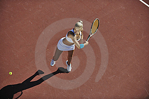 Young Woman Play Tennis Outdoor Stock Images - Image: 18356794