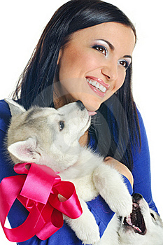 Woman And Puppy Stock Images - Image: 18357894