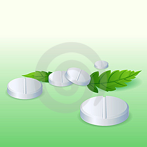 Pills With Leaf Royalty Free Stock Photos - Image: 18358558