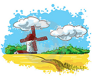Mill On The Field Royalty Free Stock Image - Image: 18361186