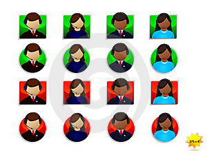 On-line Support Icons Set Royalty Free Stock Photo - Image: 18365785