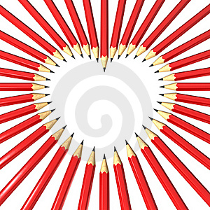 Pencils Surrounding Heart Shaped Space Royalty Free Stock Images - Image: 18367229