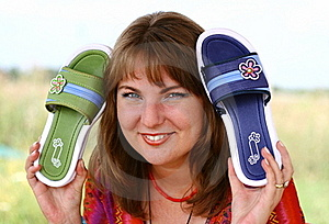 Blond Girl With Slippers Royalty Free Stock Photography - Image: 18370767