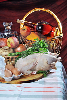 Crude Meat, Fruit And Alcohol. Stock Photos - Image: 18375203