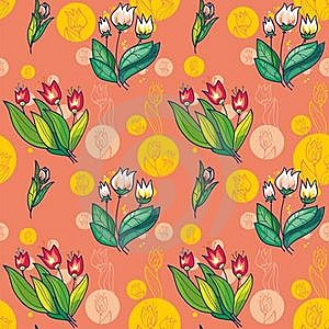 Floral Seamless Pattern Of Bright Tulips On A Pink Royalty Free Stock Photo - Image: 18377345