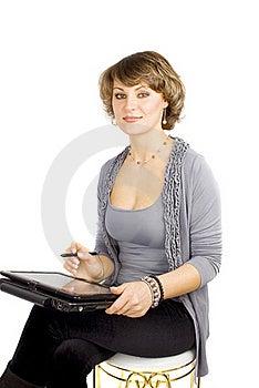 γυναίκα Lap-top σχεδιαστών Στοκ φωτογραφία με δικαίωμα ελεύθερης χρήσης - εικόνα: 18383687