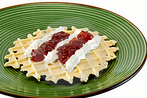 Waffle With Cream Stock Images - Image: 18386444