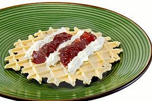 Waffle With Cream Stock Images - Image: 18386444
