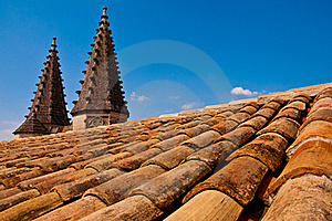Old Roof With Pointy Little Towers Stock Photo - Image: 18387460