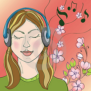 Girl And Music Royalty Free Stock Photography - Image: 18390797