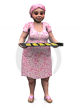 Chubby Lady Holding Baking Tray With Cookies. Stock Photo - Image: 18392390