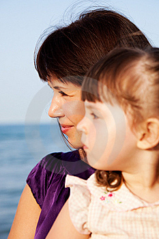 Mother With A Daughter Look Aside Stock Images - Image: 18392754