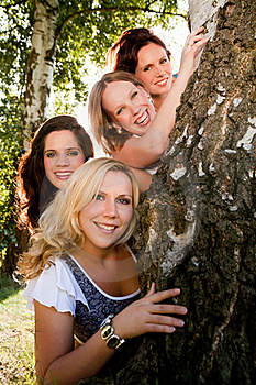 Women And The Tree Royalty Free Stock Image - Image: 18393126
