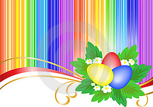 Three Easter Eggs In Bright Stripes Stock Photography - Image: 18394262