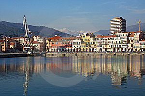 Colored Reflections On The Water,old Port Imperia Royalty Free Stock Images - Image: 18395979