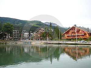Swiss Chalets stock image. Image of crans, lake, mountains - 1840701