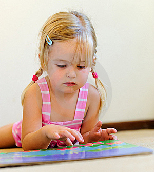 Cute Child Reading Royalty Free Stock Image - Image: 18402276